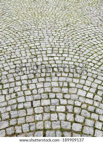 Traditional Stone Pavement Street Paved Cobblestone Stock