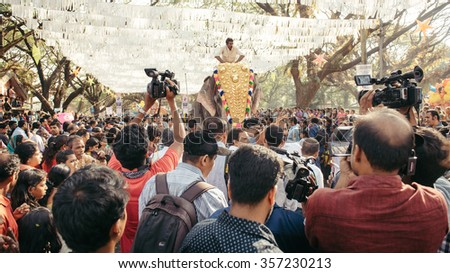 Cochin, India - January 1, 2016:  People take part in traditional New Year celebration  in Fort Kochi India.