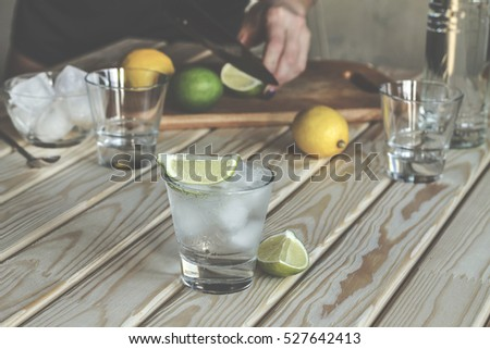 Mojito young beautiful girl prepares alcoholic stock photo for Cocktail preparation