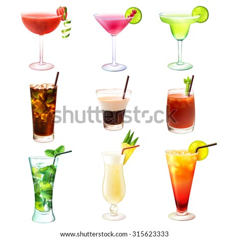 Cocktail realistic decorative icons set with  margarita mojito bloody mary isolated  illustration