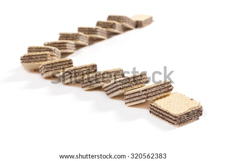 Cocoa wafers on white background