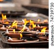 Coconut oil lamps in a buddhist temple shallow focus - stock photo