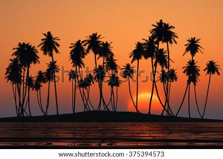 coconut palms at orange tropical sunset over calm sea