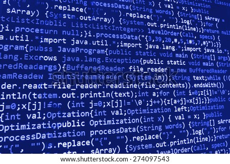 Coding programmer abstract background. Computer language script code screen. Blue  color.