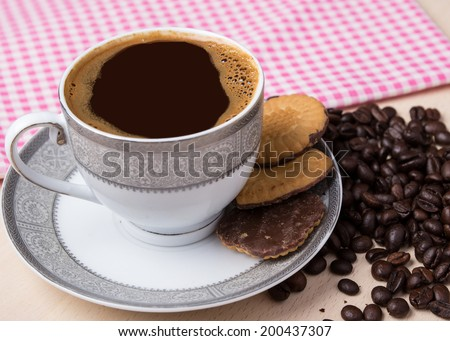 Coffee and biscuits, close up