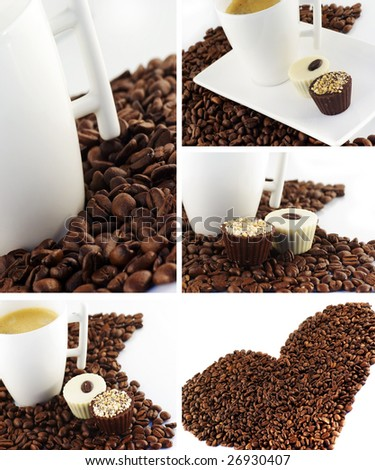 Coffee and chocolate collage isolated on white