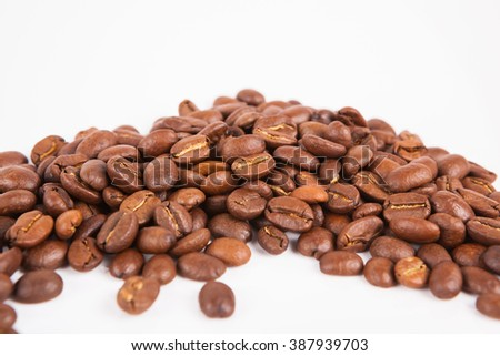 coffee  bean  on white paper  background