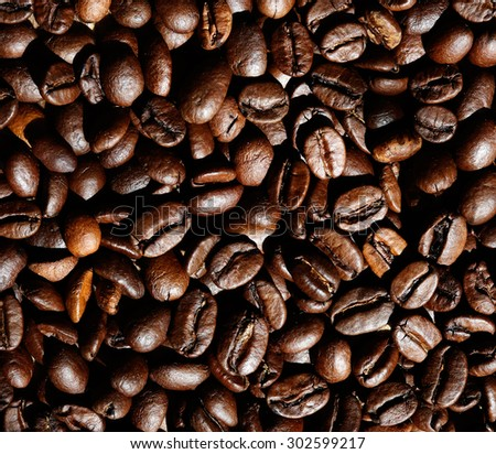 coffee beans closeup as natural brown background