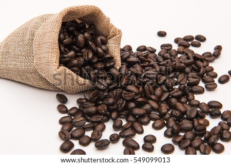 coffee beans in burlap