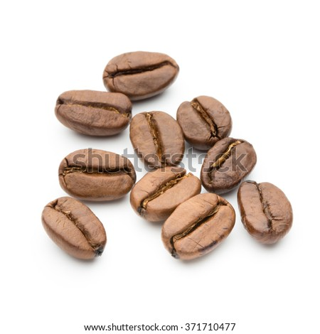 Coffee beans isolated on white background, closeup, macro