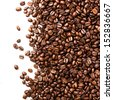 Coffee  beans isolated on white background with copyspace for text. Coffee background or texture concept.  - stock photo