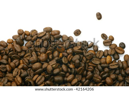 coffee beans on a white background with room for text