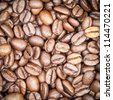 Coffee beans overhead view for background or texture - stock photo