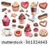 Coffee, chocolate eclair, cinnamon bun and cupcakes illustrations - stock vector