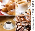Coffee croissants and roasted beans set - stock photo