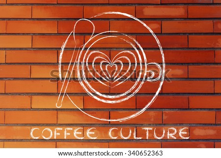 coffee culture: cup with heart-shaped latte art design