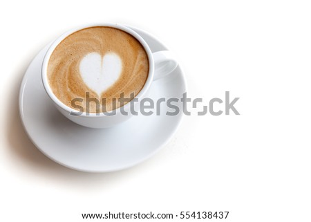 Coffee cup of latte art heart shape on white background isolated
