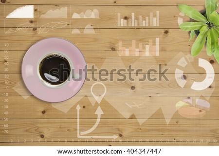 Coffee cup with graph on wooden table,Creative thinking drawing business success strategy plan ideas on wooden table background,