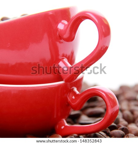Coffee cup with heart symbol isolated on Valentine Day