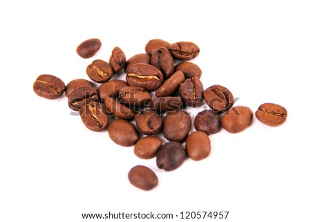 Coffee grains isolated on white background