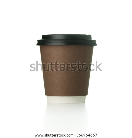 Coffee paper cup isolated on white background
