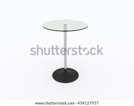 Coffee Shop, Bar, Restaurant, Bistro High Top Table Isolated On White. 3D