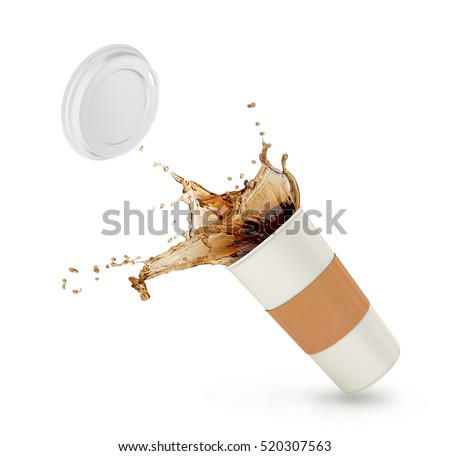 Coffee splash in paper cup isolated