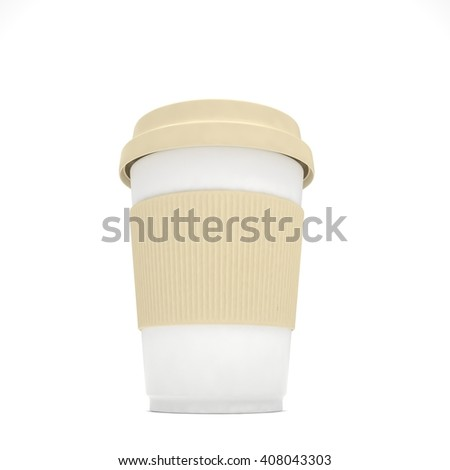 Coffee to go on white. 3d rendering.