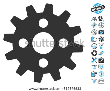 Cogwheel icon with bonus aircopter service pictures. Glyph illustration style is flat iconic blue and gray symbols on white background.