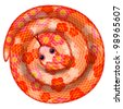 Coiled Chinese New Year Snake with Cherry Blossom Pattern Illustration Isolated on White Background - stock photo