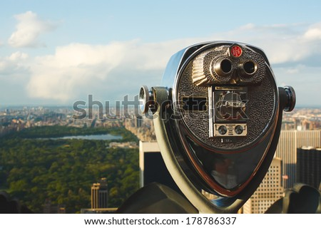Coin operated binoculars overlooking Central Park, New York City.