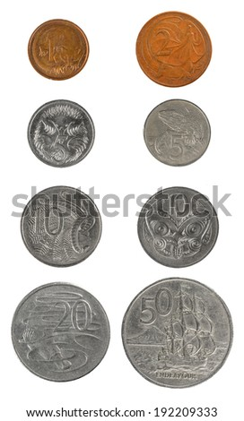 Coin set  New Zealand and Australia