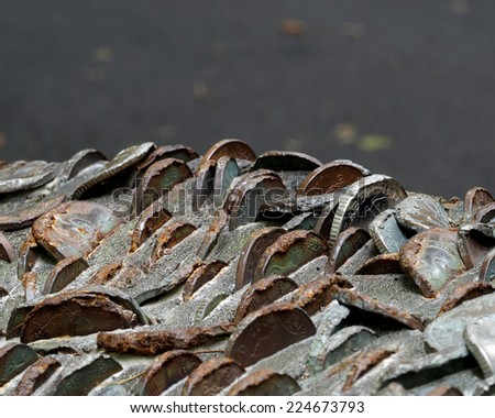 Coins hammered into a tree stump