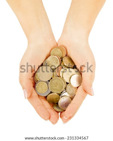 coins in cupped hands isolated on white background