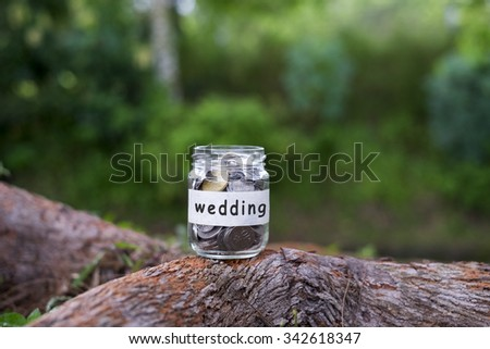 Coins in glass with WEDDING label against bokeh background.Financial concept.Selective focus.