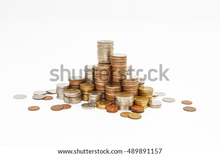 Coins stack finance concept, business background, money content and selective focus.