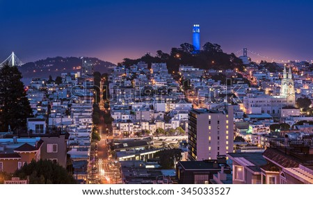 Coit Tower and Telegraph Hill from the top of Lombard Street in Russian Hill