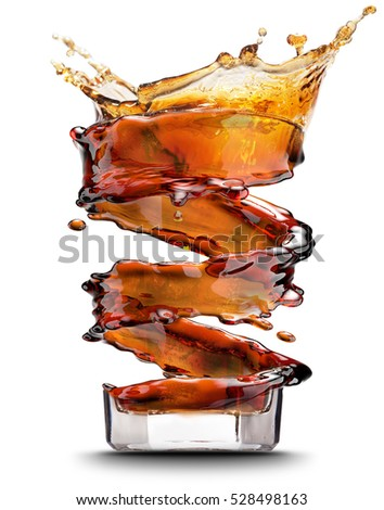 Cola splash isolated on white background