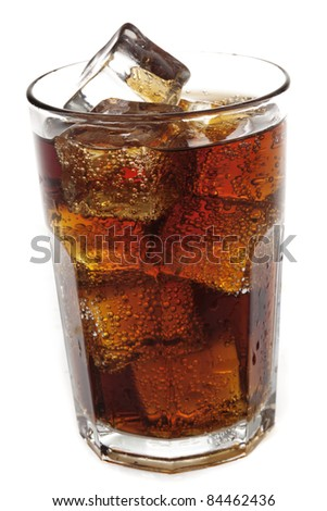 cola with ice, close up