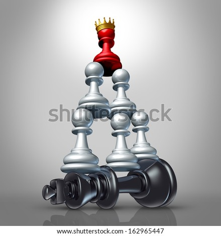 Collaboration strategy and team victory as a business concept with a chess game metaphor for changing leadership by teaming up in partnership and working together to dominate a powerful competitor.