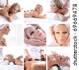 Collage about beauty, spa and health care - stock photo