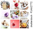 collage for christmas with cookies, mulled wine and ornaments - stock photo