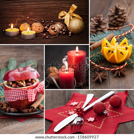 collage for christmas with food and stills