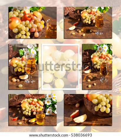 Collage from fruits. Wasp sits on grapes and apples. A collage of pictures of grapes, apples and juice. Fruit in wicker basket. Juice in a glass transparent. There are background for the text.