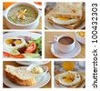 Collage from photographs of  breakfast cuisine - stock photo