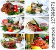Collage from photographs of hot meat and fish dishes - stock photo