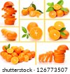 Collage from ripe oranges and tangerines - stock photo
