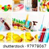 collage from several image of medical objects - stock photo