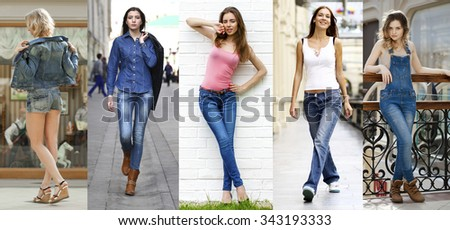 Collage Jeans Fashion. Portrait in full growth the young beautiful girls in blue jeans