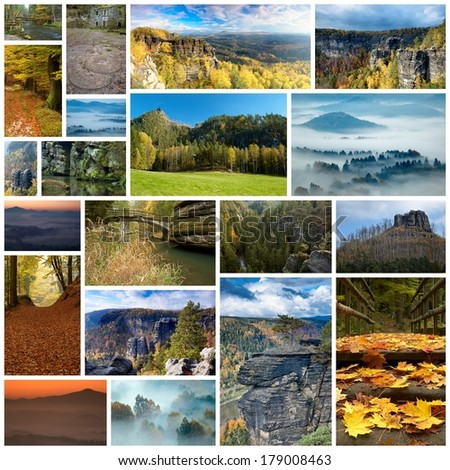 Collage Landscape and nature of Bohemian Switzerland